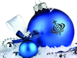 serezniy121103731.jpg - beautiful blue christmas balls on snow, isolated on white